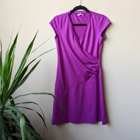 Athleta Dresses & Skirts - Athleta Nectar Purple Faux Wrap Mini Dress size S